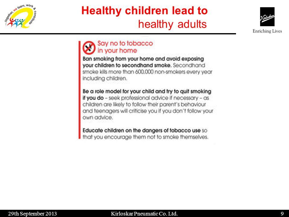 Healthy children lead to healthy adults 29th September 20139 Kirloskar Pneumatic Co. Ltd.