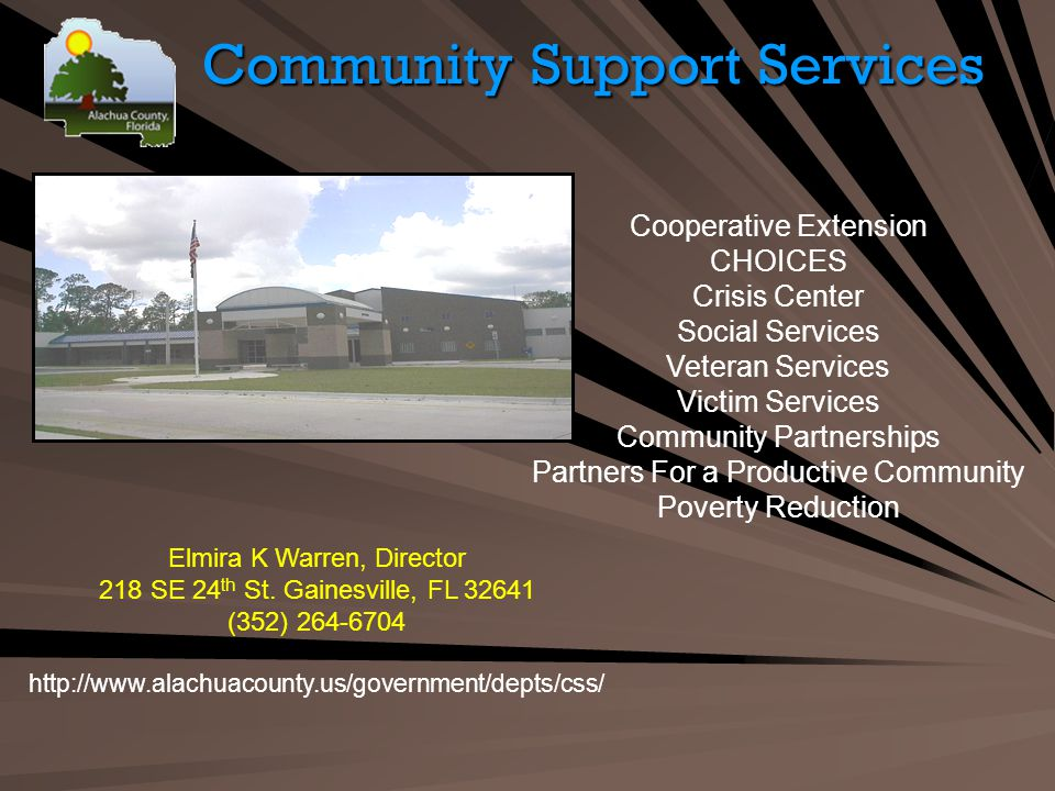 Community Support Services Elmira K Warren, Director 218 SE 24 th St.