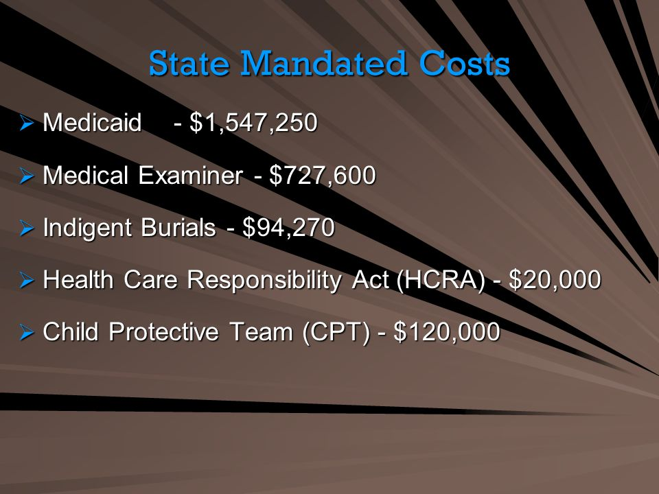 State Mandated Costs Medicaid - $1,547,250 Medicaid - $1,547,250 Medical Examiner - $727,600 Medical Examiner - $727,600 Indigent Burials - $94,270 Indigent Burials - $94,270 Health Care Responsibility Act (HCRA) - $20,000 Health Care Responsibility Act (HCRA) - $20,000 Child Protective Team (CPT) - $120,000 Child Protective Team (CPT) - $120,000