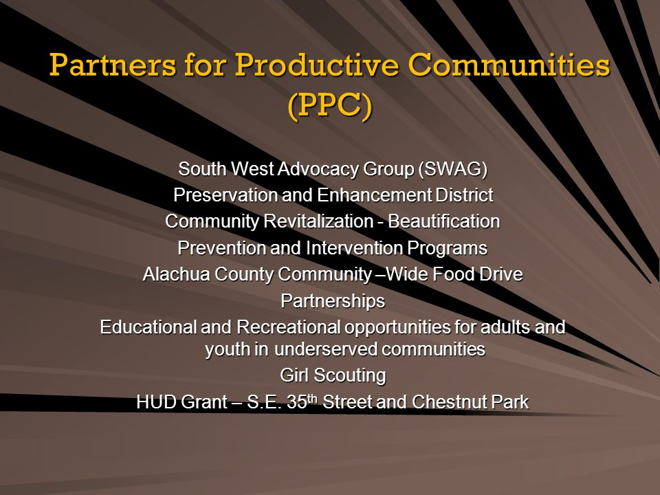 Partners for Productive Communities (PPC) South West Advocacy Group (SWAG) Preservation and Enhancement District Community Revitalization - Beautification Prevention and Intervention Programs Alachua County Community –Wide Food Drive Partnerships Educational and Recreational opportunities for adults and youth in underserved communities Girl Scouting HUD Grant – S.E.