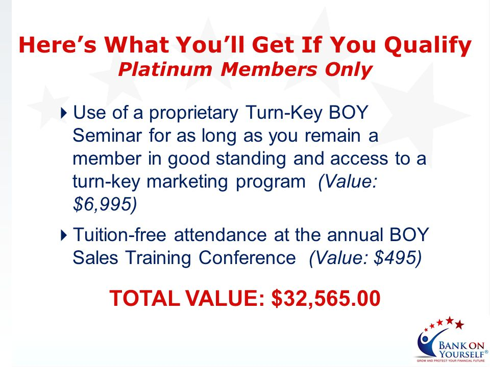 Use of a proprietary Turn-Key BOY Seminar for as long as you remain a member in good standing and access to a turn-key marketing program (Value: $6,99