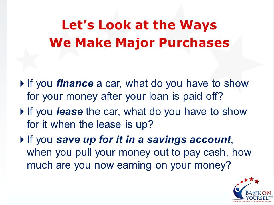 If you finance a car, what do you have to show for your money after your loan is paid off? If you lease the car, what do you have to show for it when