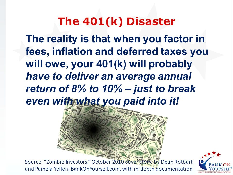 The reality is that when you factor in fees, inflation and deferred taxes you will owe, your 401(k) will probably have to deliver an average annual re