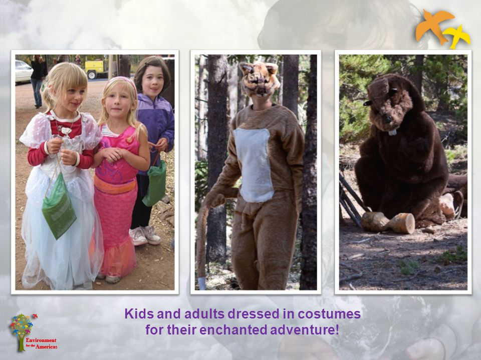 Kids and adults dressed in costumes for their enchanted adventure!