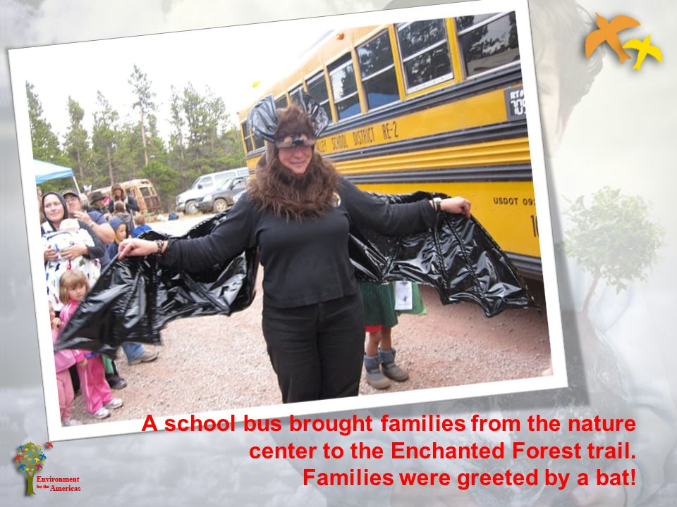 A school bus brought families from the nature center to the Enchanted Forest trail.