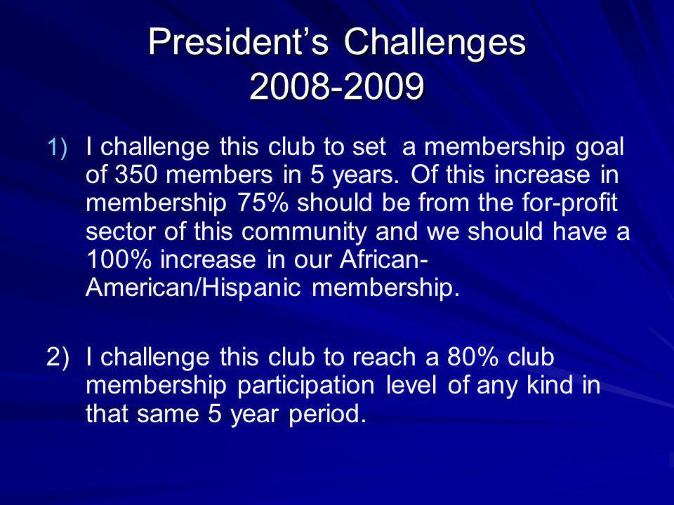 Presidents Challenges 2008-2009 1) 1) I challenge this club to set a membership goal of 350 members in 5 years.
