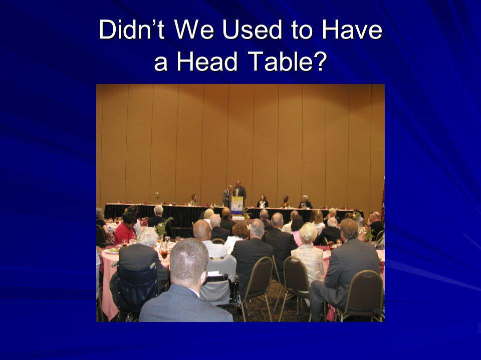 Didnt We Used to Have a Head Table?