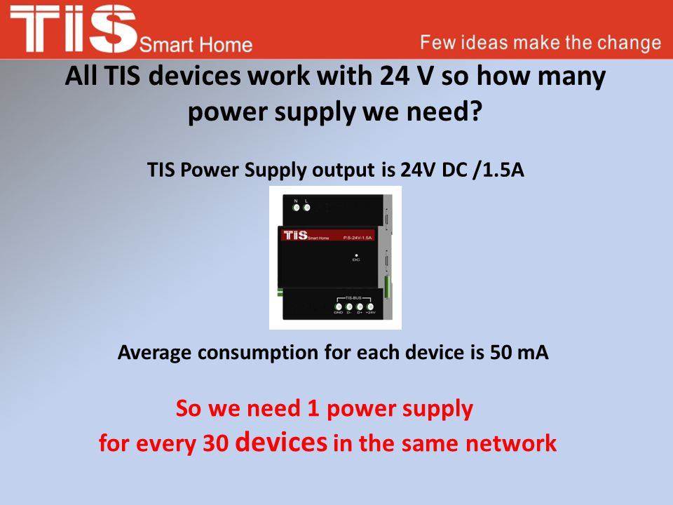 All TIS devices work with 24 V so how many power supply we need.