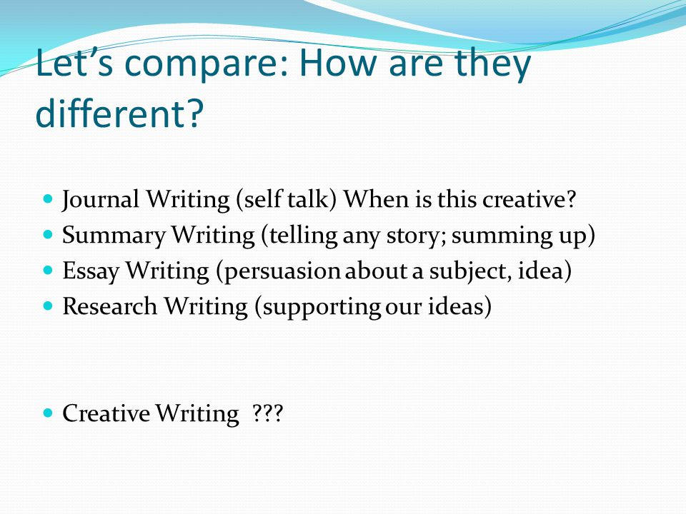 Lets compare: How are they different? Journal Writing (self talk) When is this creative? Summary Writing (telling any story; summing up) Essay Writing
