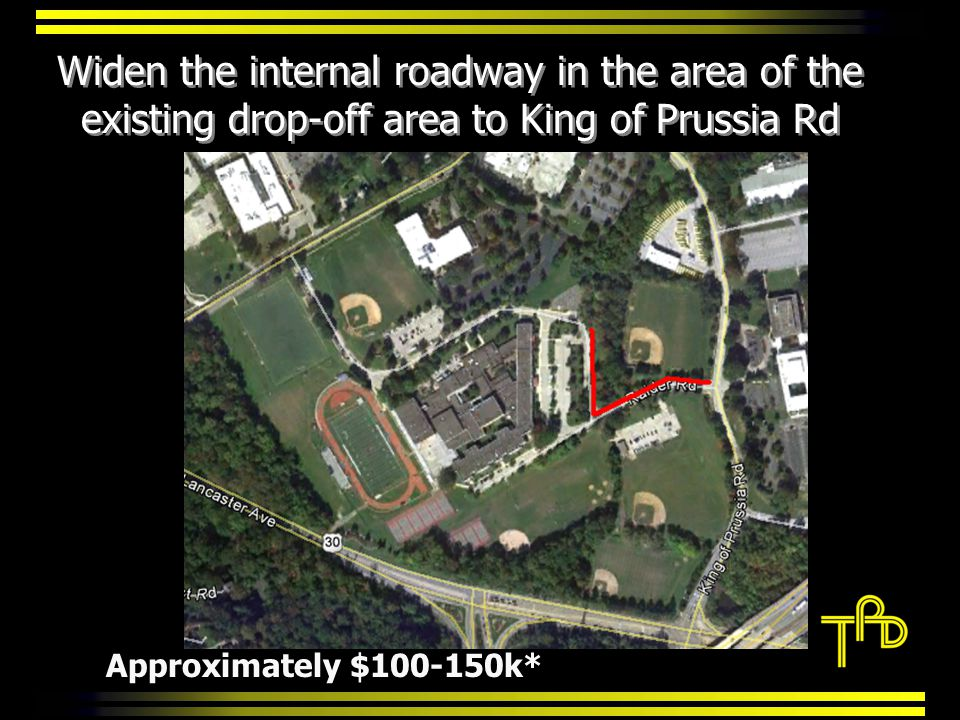 Widen the internal roadway in the area of the existing drop-off area to King of Prussia Rd Approximately $100-150k*