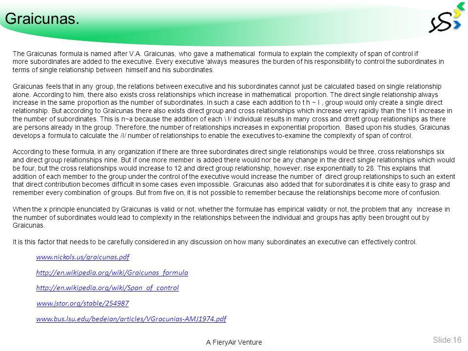 Graicunas. A FieryAir Venture Slide:16 The Graicunas formula is named after V.A.