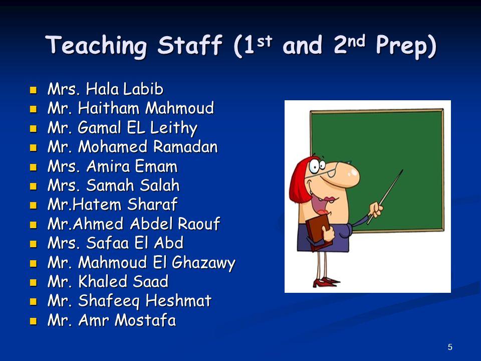 5 Teaching Staff (1 st and 2 nd Prep) Mrs. Hala Labib Mrs. Hala Labib Mr. Haitham Mahmoud Mr. Haitham Mahmoud Mr. Gamal EL Leithy Mr. Gamal EL Leithy