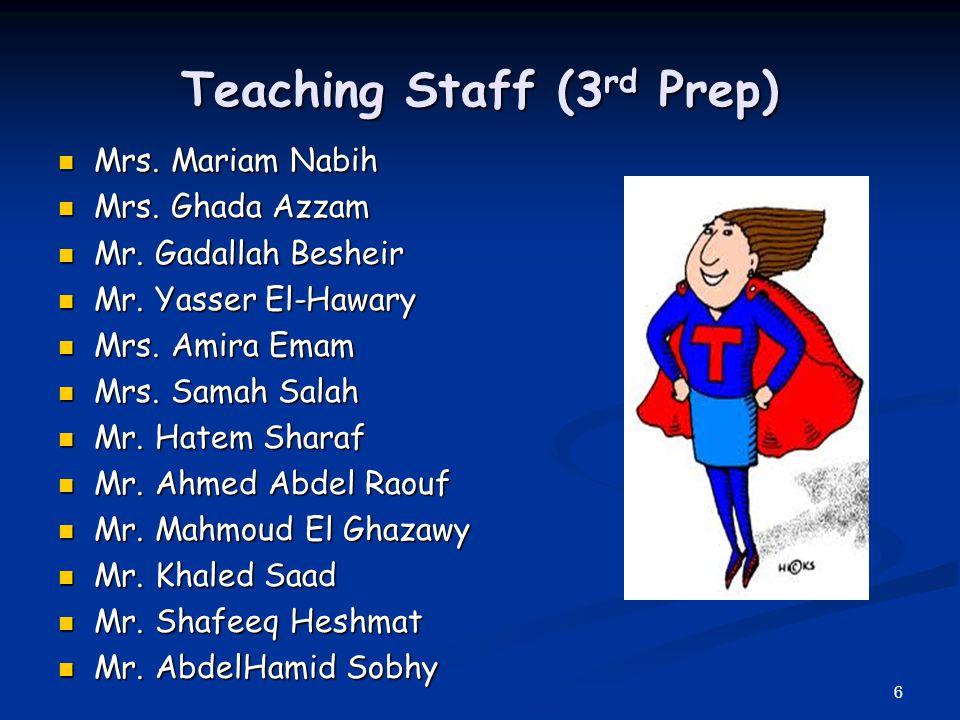 6 Teaching Staff (3 rd Prep) Mrs. Mariam Nabih Mrs. Mariam Nabih Mrs. Ghada Azzam Mrs. Ghada Azzam Mr. Gadallah Besheir Mr. Gadallah Besheir Mr. Yasse