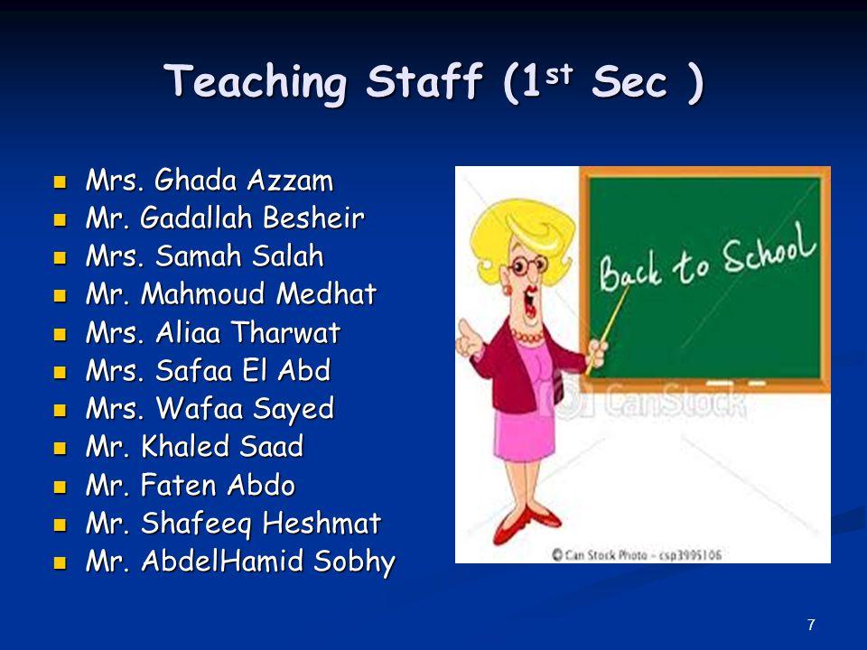 7 Teaching Staff (1 st Sec ) Mrs. Ghada Azzam Mrs. Ghada Azzam Mr. Gadallah Besheir Mr. Gadallah Besheir Mrs. Samah Salah Mrs. Samah Salah Mr. Mahmoud