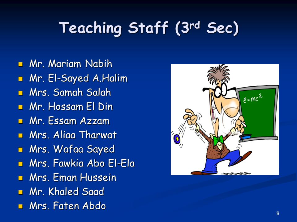 9 Teaching Staff (3 rd Sec) Mr. Mariam Nabih Mr. Mariam Nabih Mr. El-Sayed A.Halim Mr. El-Sayed A.Halim Mrs. Samah Salah Mrs. Samah Salah Mr. Hossam E