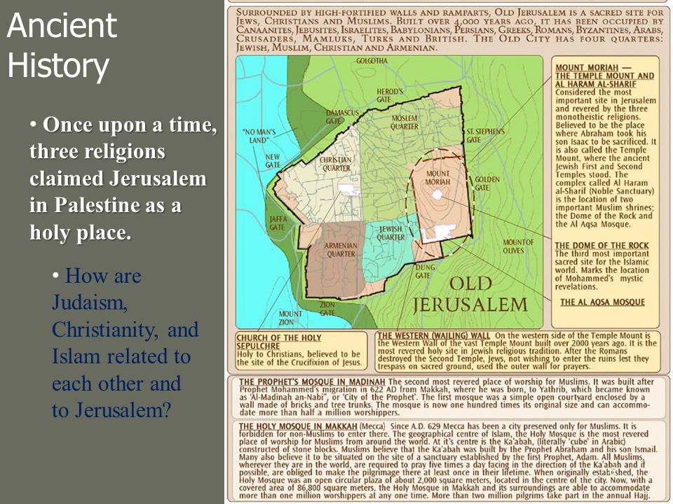 Once upon a time, three religions claimed Jerusalem in Palestine as a holy place.