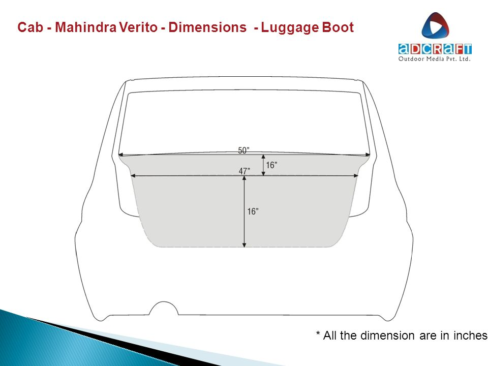 Cab - Mahindra Verito – Dimensions – Right Side Door * All the dimension are in inches
