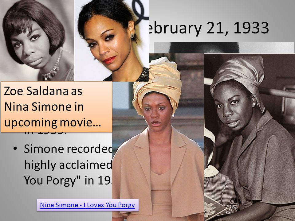 ON THIS DATE: February 21, 1933 Nina Simone, entertainer known as the High Priestess of Soul, was born in Tryon, NC, on this date in 1933.