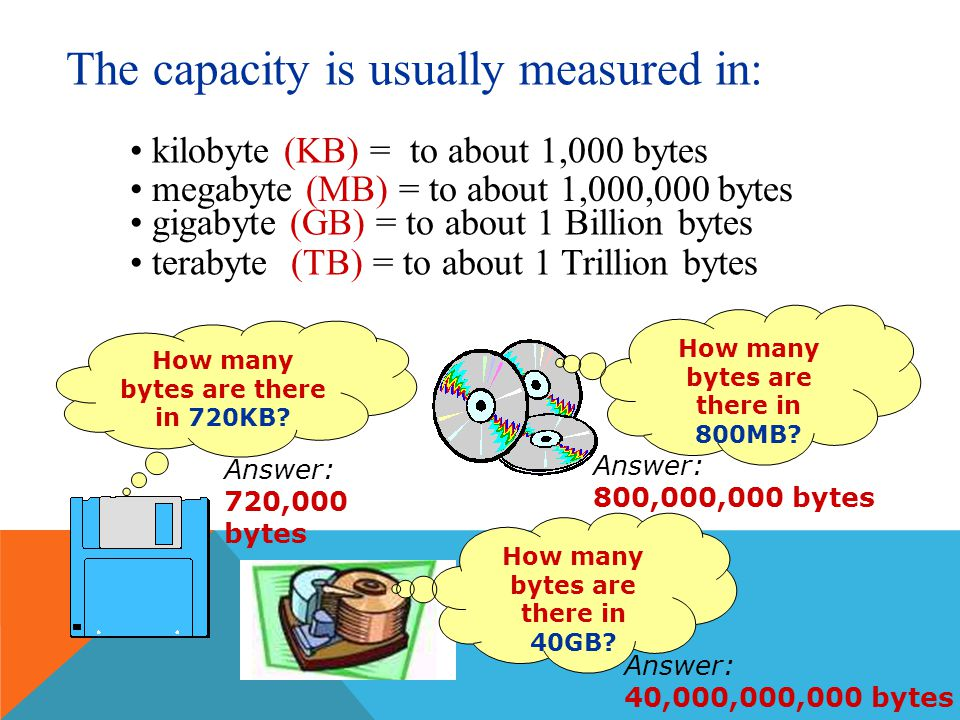 STORAGE CAPACITY - It is the maximum amount of data that can be stored in a storage medium. Data is stored in a storage media in BYTES Each character