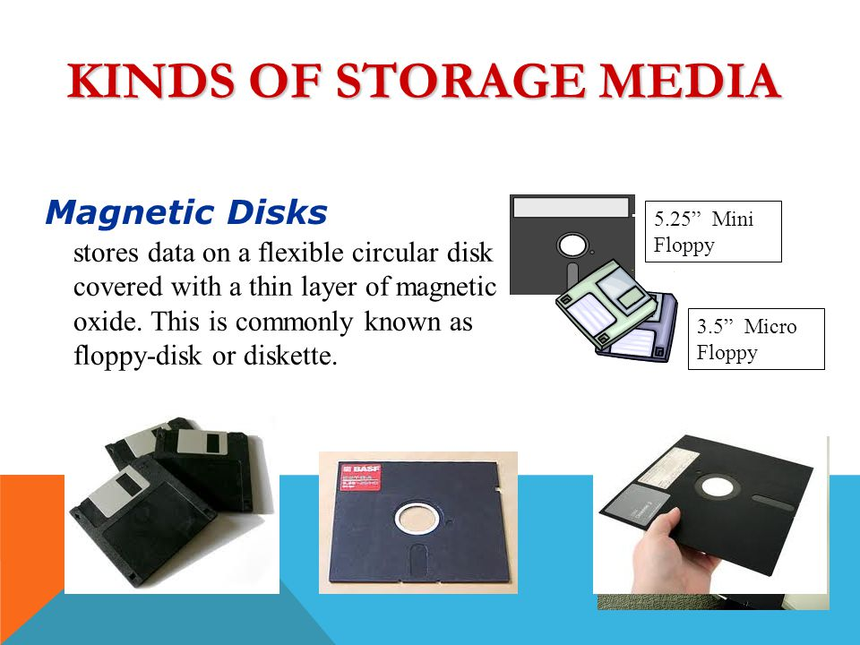 KINDS OF STORAGE MEDIA A. Magnetic Storage Hard Disks stores data on a flat rigid disk made of stacked aluminum or glass disk coated with magnetic oxi