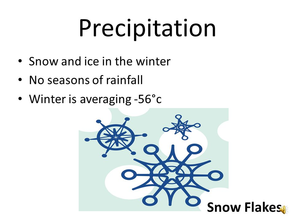 Climate Usually very cold Cold during winter and summer Two seasons 6 to 10 inches of snow per year Snow Flake