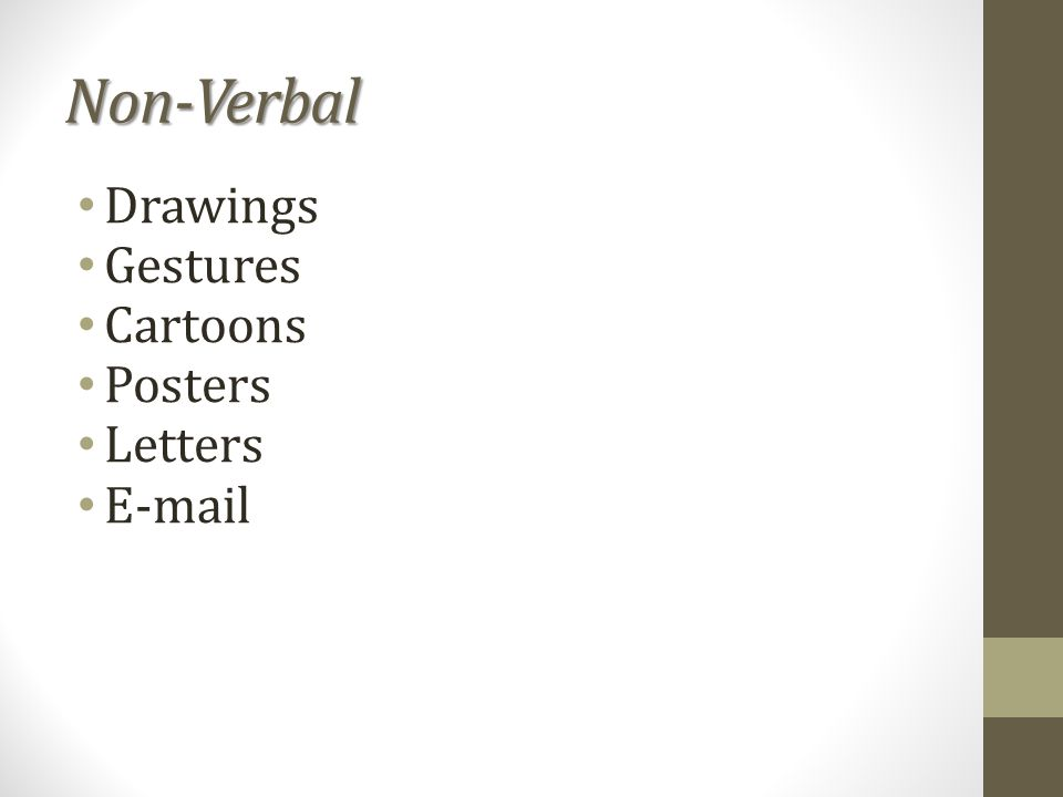 Non-Verbal Drawings Gestures Cartoons Posters Letters E-mail