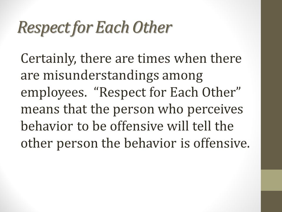 Respect for Each Other Certainly, there are times when there are misunderstandings among employees.