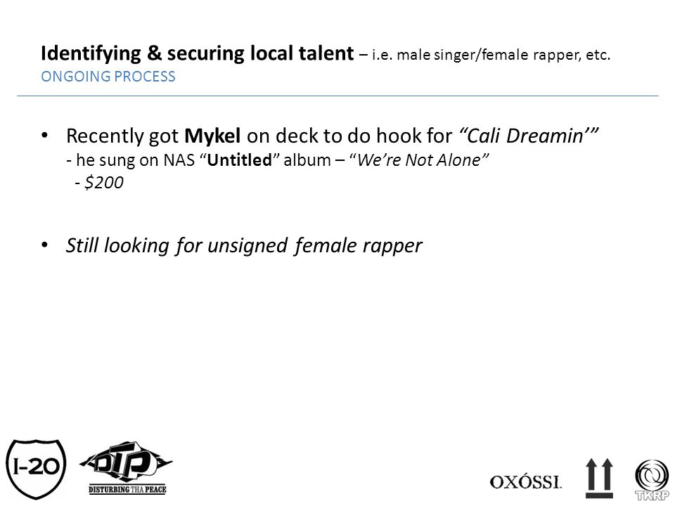 Identifying & securing local talent – i.e. male singer/female rapper, etc. ONGOING PROCESS Recently got Mykel on deck to do hook for Cali Dreamin - he