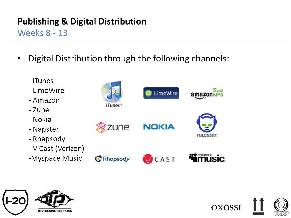 Publishing & Digital Distribution Weeks 8 - 13 Digital Distribution through the following channels: - iTunes - LimeWire - Amazon - Zune - Nokia - Naps