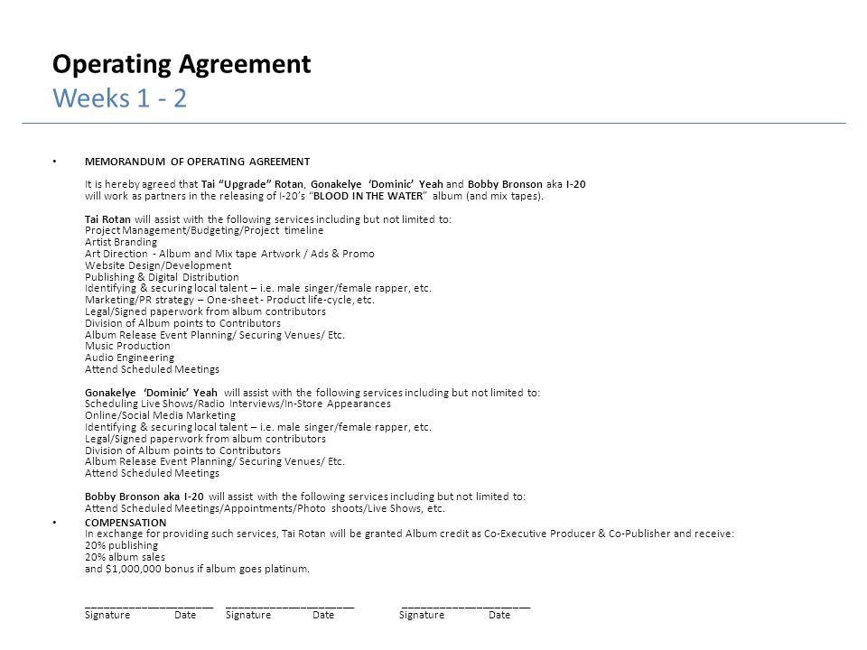 Operating Agreement Weeks 1 - 2 MEMORANDUM OF OPERATING AGREEMENT It is hereby agreed that Tai Upgrade Rotan, Gonakelye Dominic Yeah and Bobby Bronson