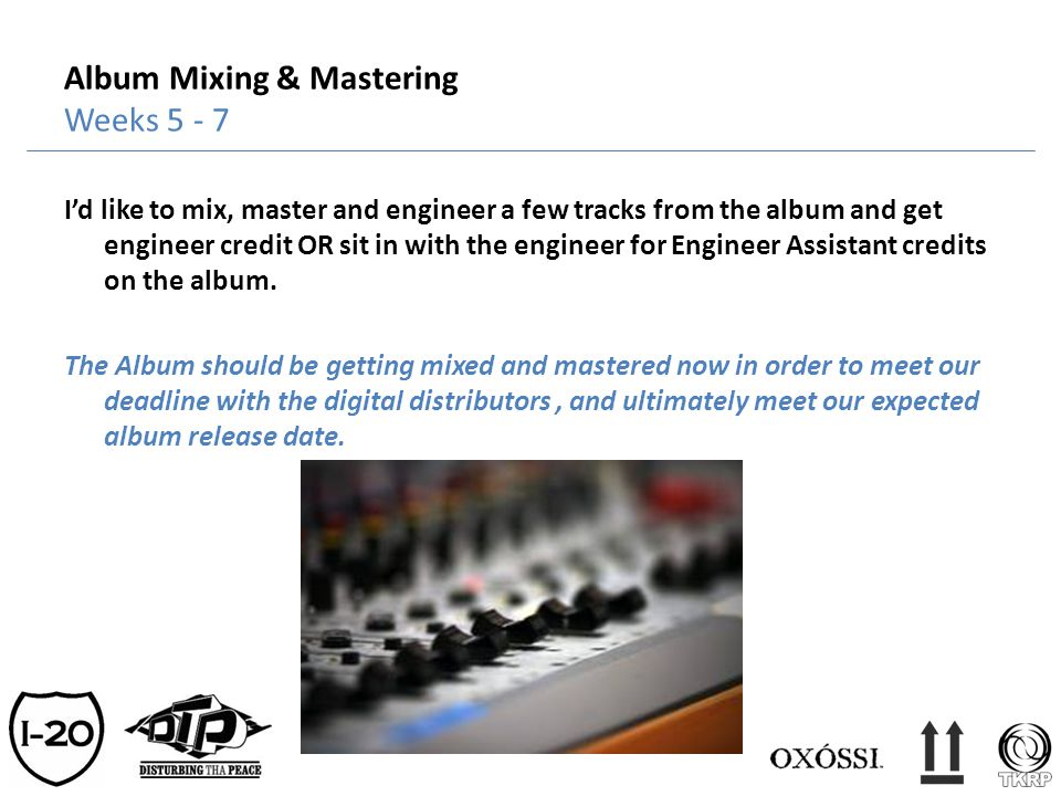 Album Mixing & Mastering Weeks 5 - 7 Id like to mix, master and engineer a few tracks from the album and get engineer credit OR sit in with the engine