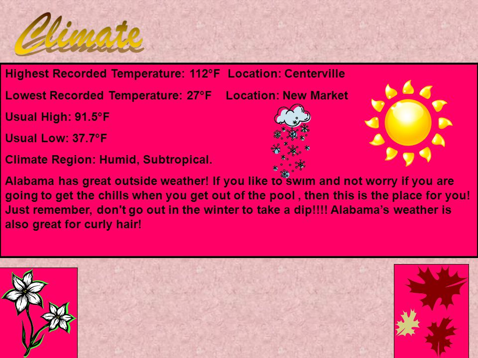 Highest Recorded Temperature: 112°F Location: Centerville Lowest Recorded Temperature: 27°F Location: New Market Usual High: 91.5°F Usual Low: 37.7°F Climate Region: Humid, Subtropical.