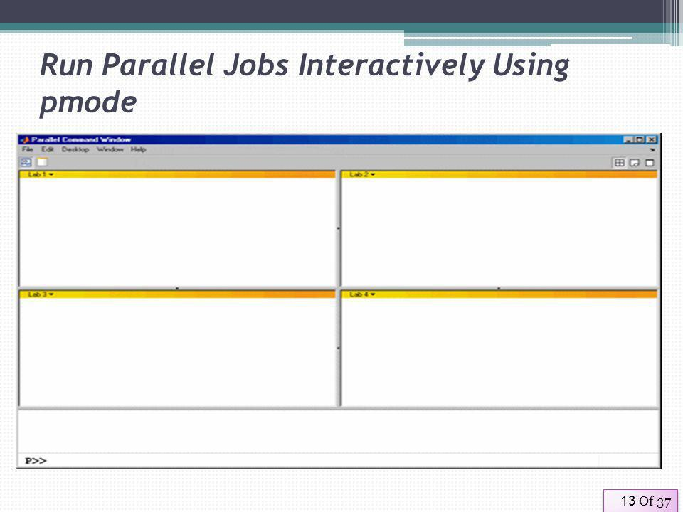 Of 3713 Run Parallel Jobs Interactively Using pmode