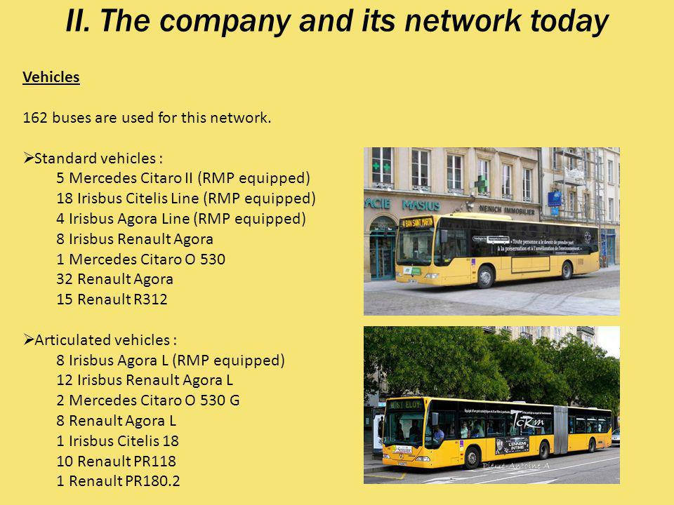 II.The company and its network today Vehicles 162 buses are used for this network.