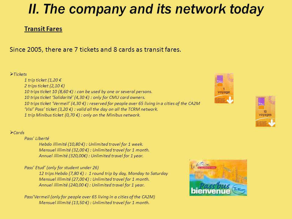II. The company and its network today Transit Fares Since 2005, there are 7 tickets and 8 cards as transit fares. Tickets 1 trip ticket (1,20 2 trips