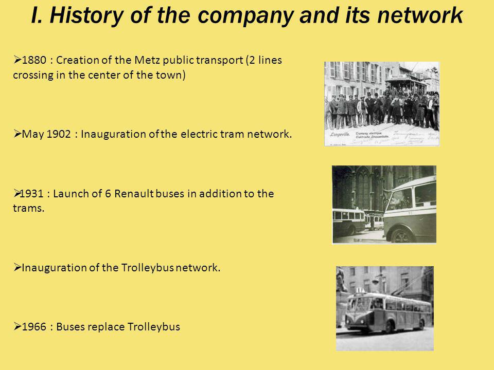 I. History of the company and its network 1880 : Creation of the Metz public transport (2 lines crossing in the center of the town) May 1902 : Inaugur