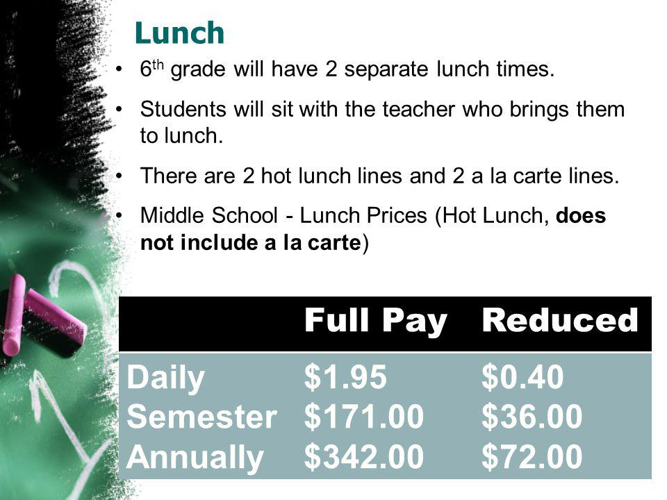 Lunch 6 th grade will have 2 separate lunch times.
