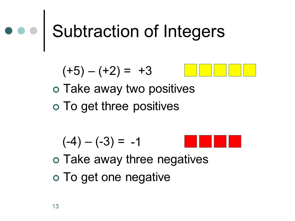 13 (+5) – (+2) = Take away two positives To get three positives (-4) – (-3) = Take away three negatives To get one negative Subtraction of Integers +3