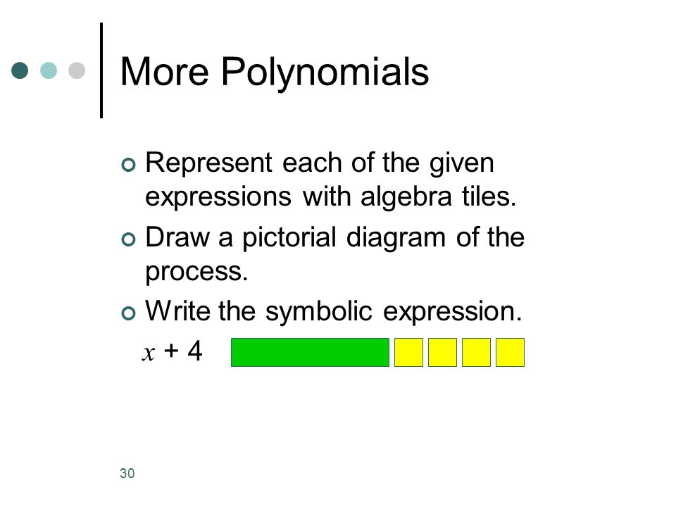 30 More Polynomials Represent each of the given expressions with algebra tiles. Draw a pictorial diagram of the process. Write the symbolic expression