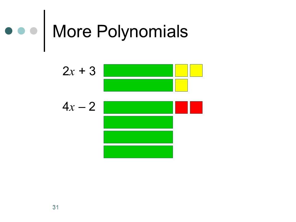 31 More Polynomials 2 x + 3 4 x – 2