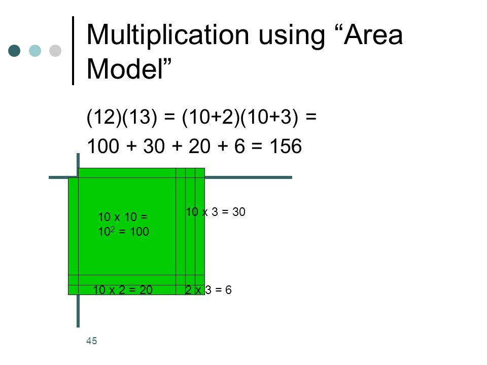 45 Multiplication using Area Model (12)(13) = (10+2)(10+3) = 100 + 30 + 20 + 6 = 156 10 x 10 = 10 2 = 100 10 x 2 = 20 10 x 3 = 30 2 x 3 = 610 x 2 = 20
