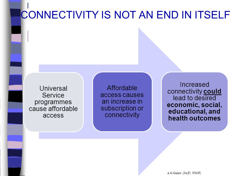 CONNECTIVITY IS NOT AN END IN ITSELF Universal Service programmes cause affordable access Affordable access causes an increase in subscription or conn