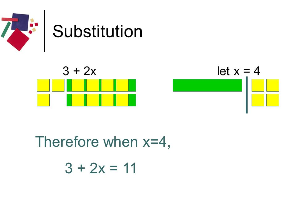 Substitution 3 + 2x let x = 4 Therefore when x=4, 3 + 2x = 11