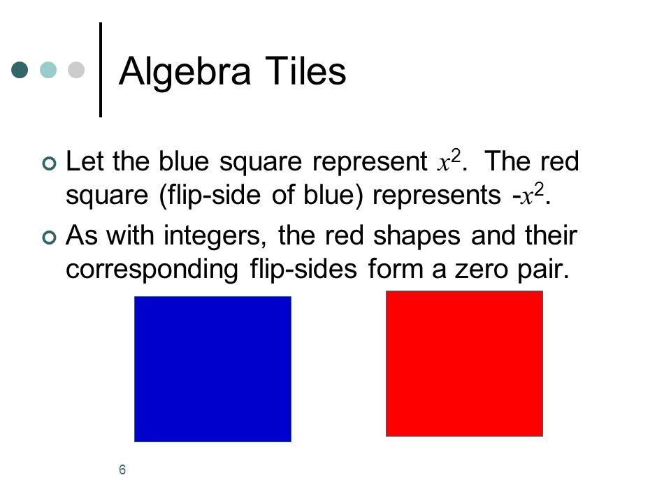 6 Algebra Tiles Let the blue square represent x 2.