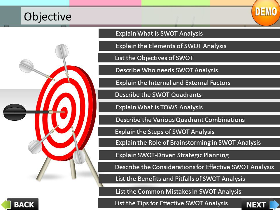 Searching extensively for competitors Effective SWOT Analysis Searching Extensively for Competitors: It is critical for conducting an effective SWOT Analysis that you do not overlook any competitor, both current as well as future competitors.