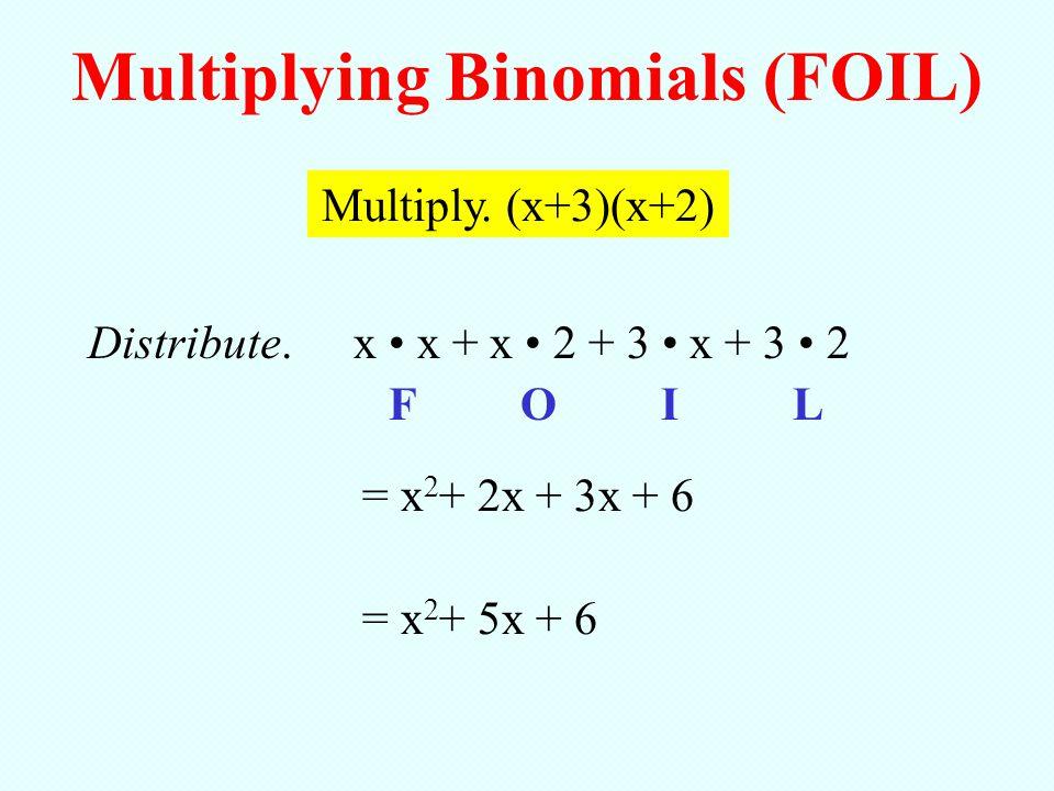 Multiply. (x+3)(x+2) x x + x 2 + 3 x + 3 2 Multiplying Binomials (FOIL) FOIL = x 2 + 2x + 3x + 6 = x 2 + 5x + 6 Distribute.