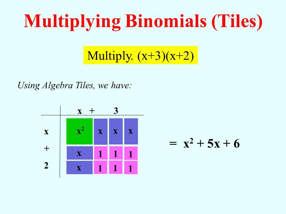 x + 3 x+2x+2 Using Algebra Tiles, we have: = x 2 + 5x + 6 Multiplying Binomials (Tiles) Multiply. (x+3)(x+2) x2x2 x x 1 xx x 11111