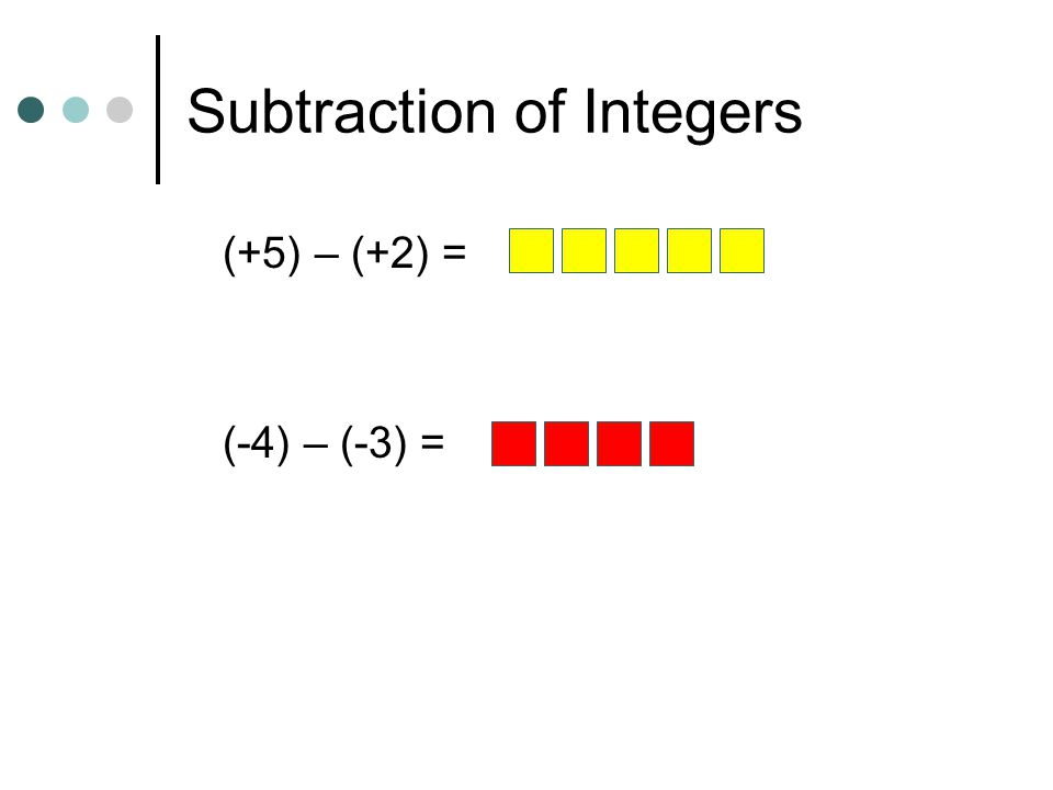 Subtraction of Integers (+5) – (+2) = (-4) – (-3) =