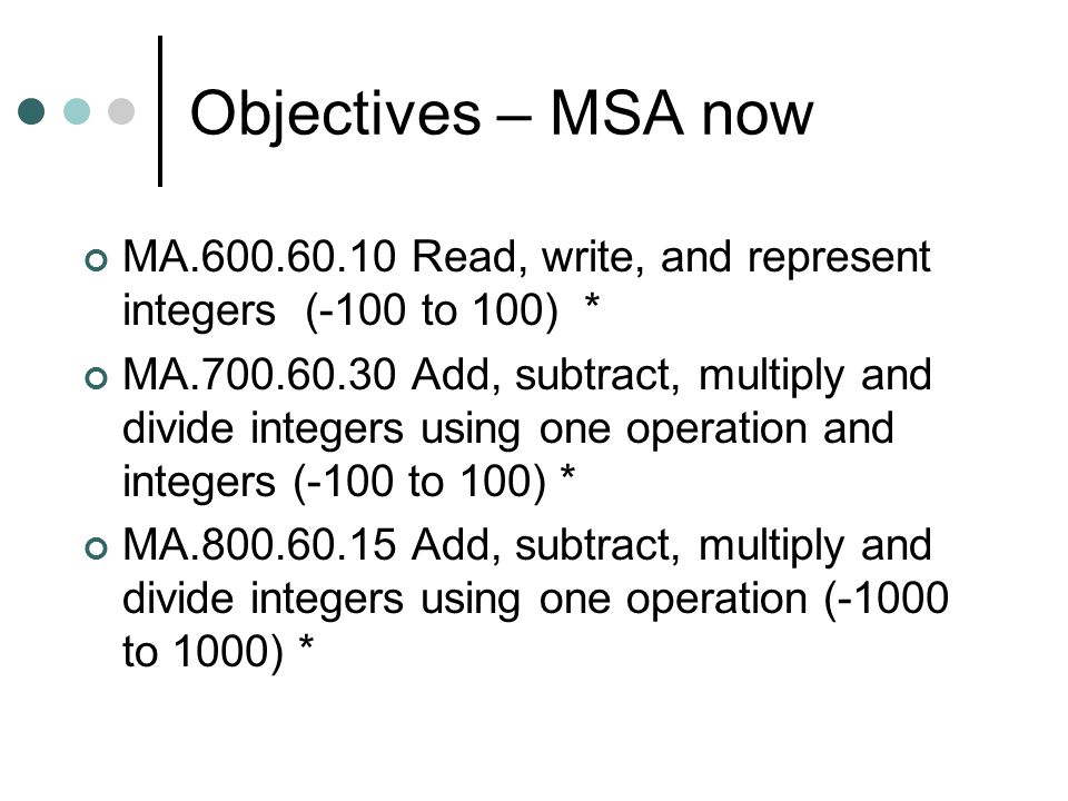 Objectives – MSA now MA.600.60.10 Read, write, and represent integers (-100 to 100) * MA.700.60.30 Add, subtract, multiply and divide integers using o