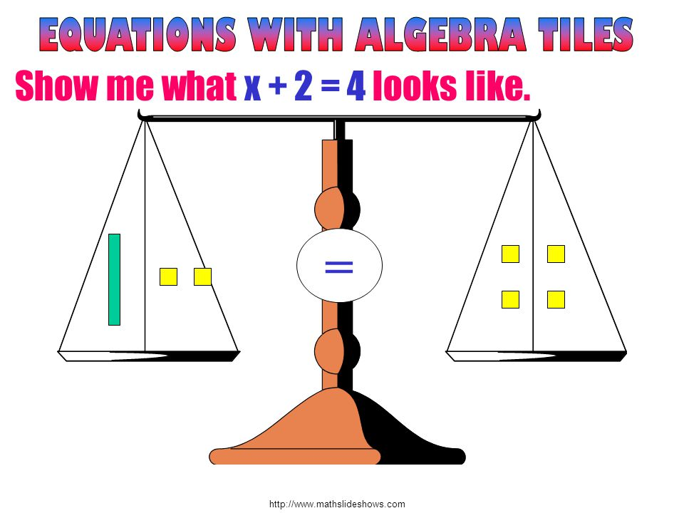 http://www.mathslideshows.com = Show me what x + 2 = 4 looks like.